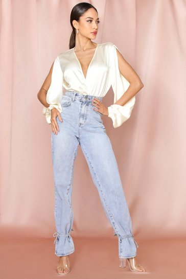 Cream Satin Plunge Split Sleeve Bodysuit