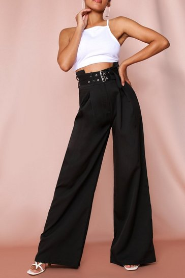 Black High Waisted Double Belted Wide Leg Pants