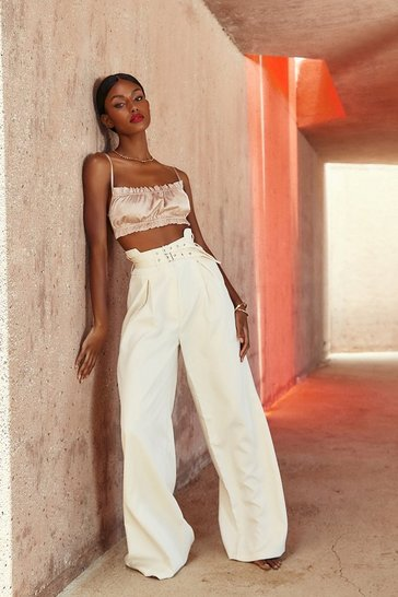 Cream High Waisted Double Belted Wide Leg Pants