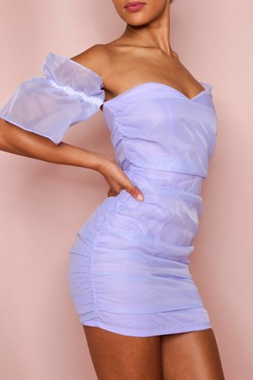 Lilac Organza Ruched Puff Sleeve Dress