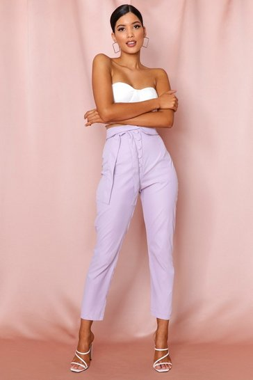 Lilac button front extreme high waisted slim trousers