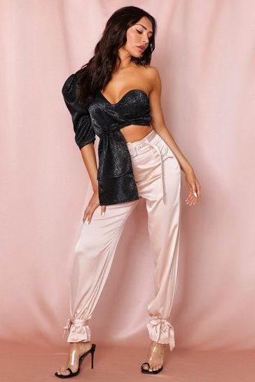 Champagne Tie Leg Belted Satin Pants