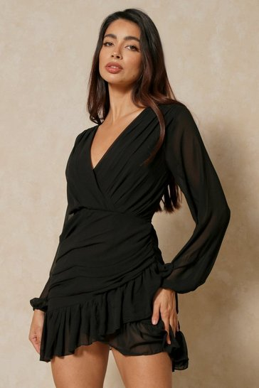 Black Chiffon Ruched Frill Detail Dress