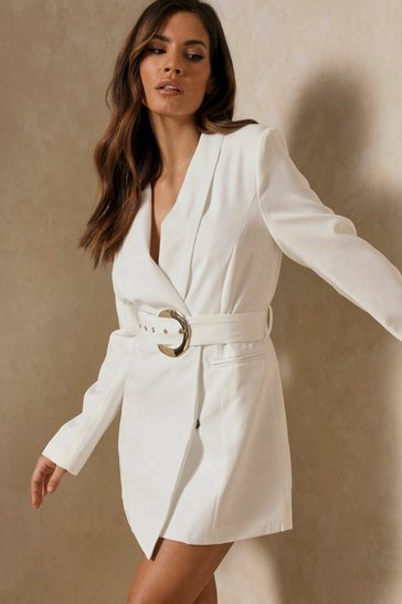White Asymmetric Gold Buckle Belted Blazer Dress