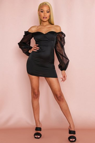 Champagne Organza Puff Shoulder Satin Cupped Dress