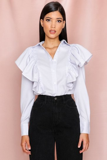 Blue striped ruffle detail shirt