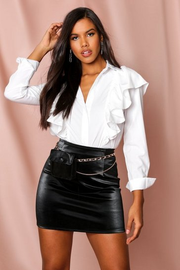 White ruffle detail shirt