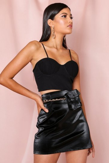 Black Chain Pocket Belt Leather look Mini Skirt