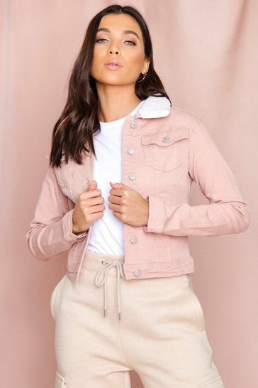 Pink Cropped Borg Collar Denim Jacket