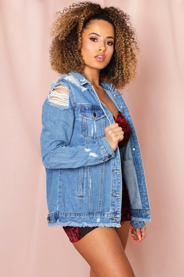 Mid blue Extreme Ripped Denim Jacket