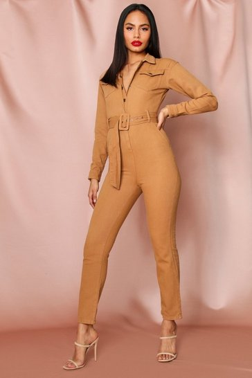 Camel Denim Utility Belted Jumpsuit