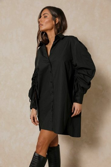 Black Ruched Tie Sleeve Shirt Dress