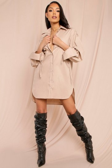 Stone Ruched Tie Sleeve Shirt Dress