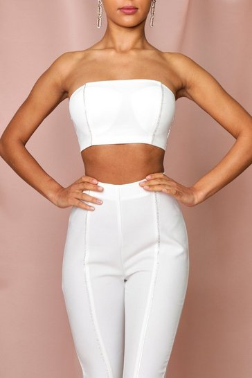 White diamante trim bandeau crop top