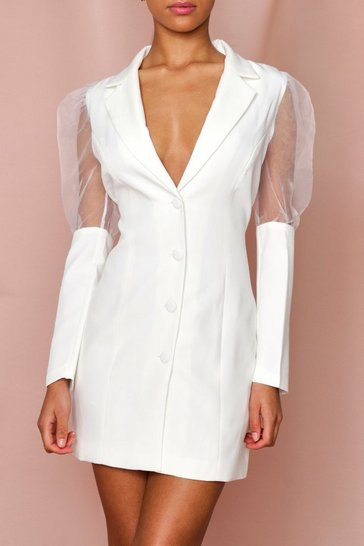 White organza puff sleeve extreme cuff blazer dress