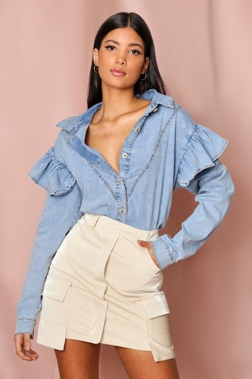 Wash blue Ruffle Shoulder Acid Wash Denim Shirt