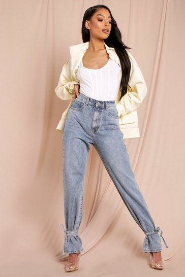 Light blue Tie Hem Mom Jeans