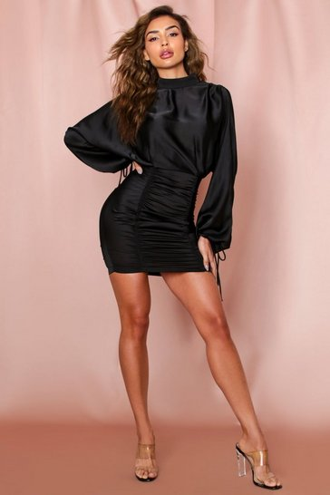 Black Satin Ruched High Neck Open Back Dress