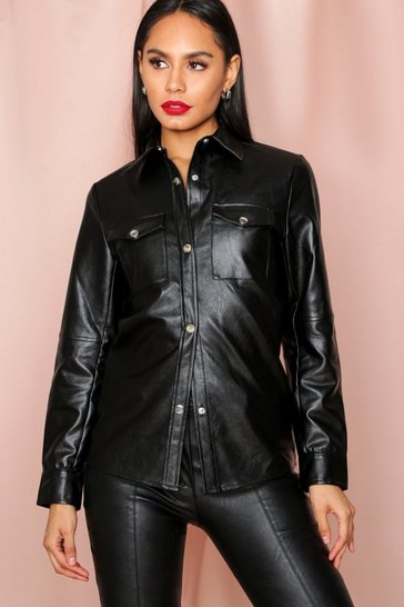 Black Leather Look Pocket Detail Shirt