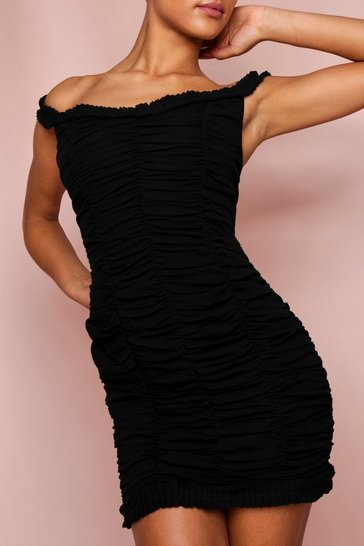 Black Extreme Ruched Bardot Mini Dress