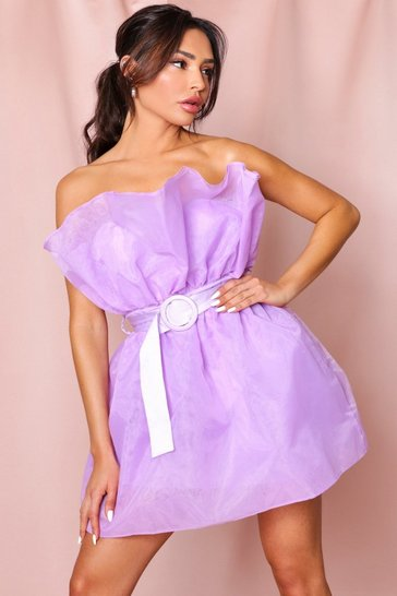 Lilac Organza Ruffle Belted Mini Dress