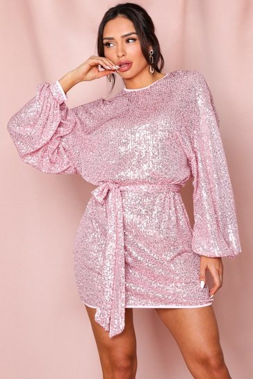 Pink Sequin Belted Balloon Sleeve Dress