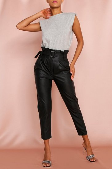 Black PU Paper Bag Tapered Trousers