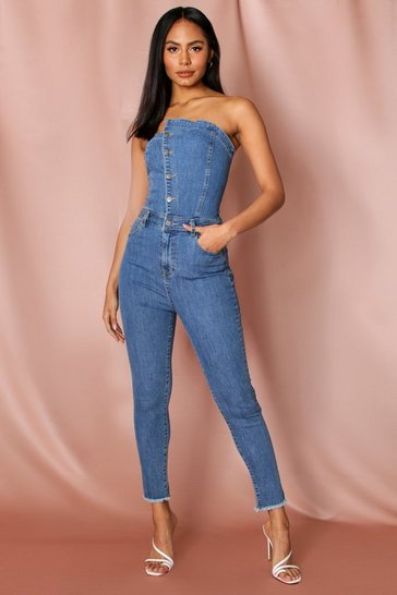 Mid blue denim bandeau button front jumpsuit