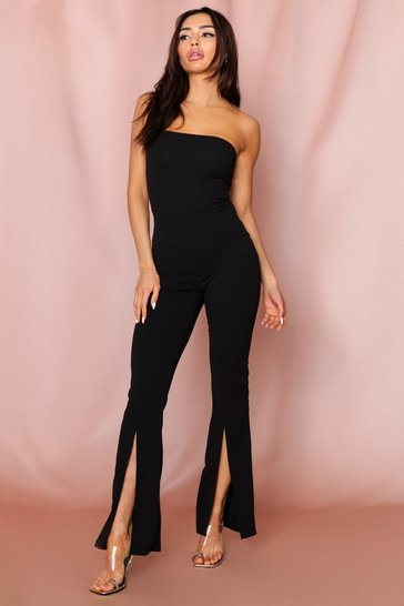 Black Bandeau Split Front Wide Leg Jumpsuit