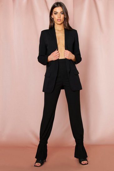 Black Ankle Tie Tapered Trousers