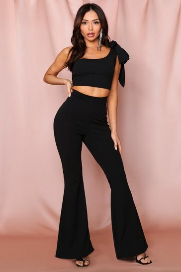 Black One Shoulder Bow Tie Flared Leg Co ord