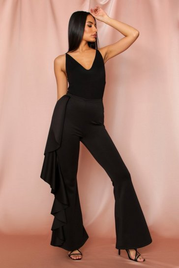 Black Ruffle Side Flared Trousers