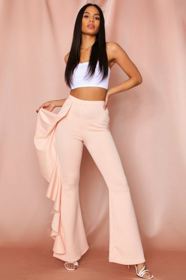 Nude Ruffle Side Flared Trousers