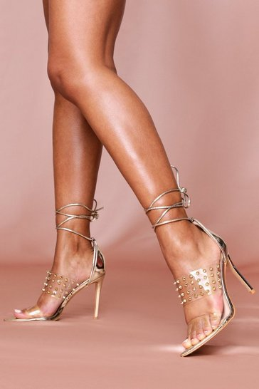 Gold Studded Ankle Tie Heels