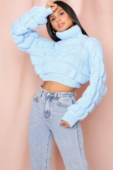 Baby blue cropped high neck bubble jumper