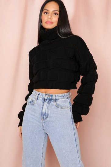 Black cropped high neck bubble jumper