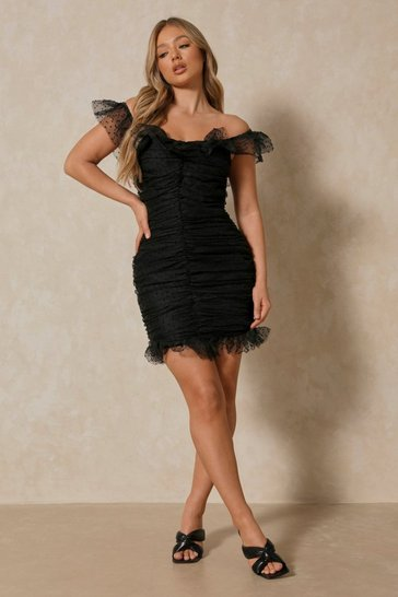 Black Spot Organza Ruched Bardot Dress