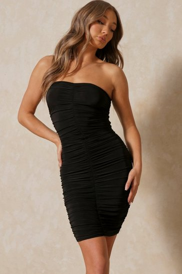 Black Slinky Ruched Bandeau Midi Dress