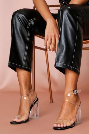 Black clear strap block heeled sandals