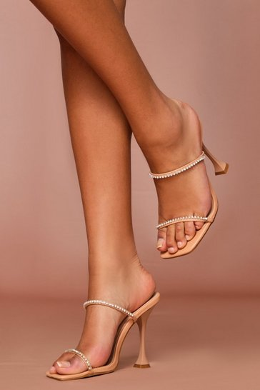 Nude Diamante Detail Flared Heel Mules