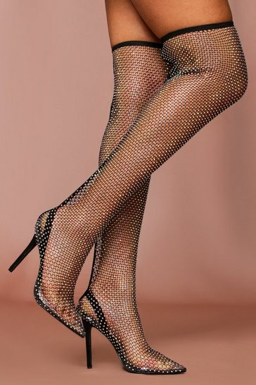 Black Diamante Fishnet Thigh High Heels