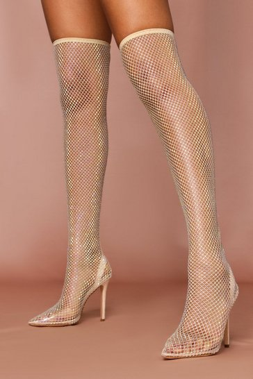 Nude Diamante Fishnet Thigh High Heels