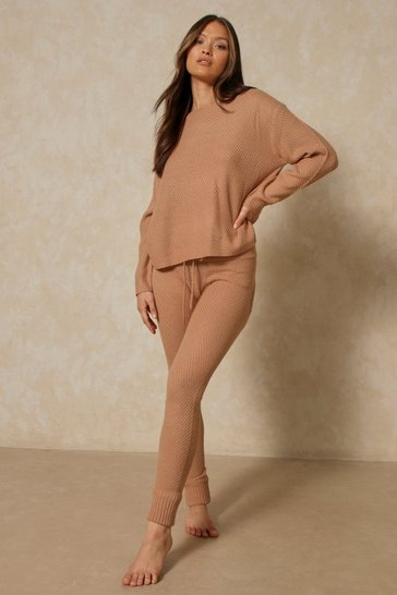 Camel Waffle Knit Slash Neck Lounge Set
