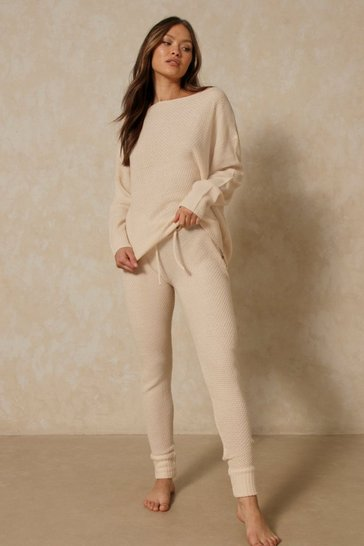 Stone Waffle Knit Slash Neck Lounge Set