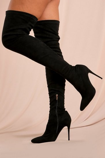 Black Extreme Thigh High Heeled Boot