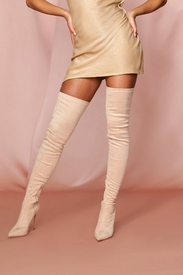 Nude Extreme Thigh High Heeled Boot