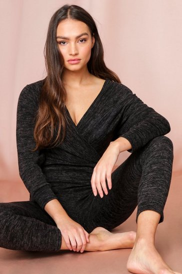 Charcoal Wrap Front Marl Lounge Set