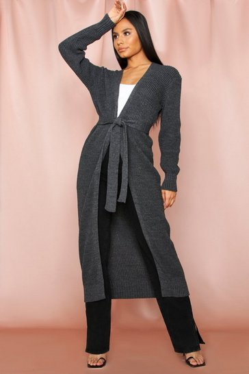 Grey belted knitted maxi cardigan