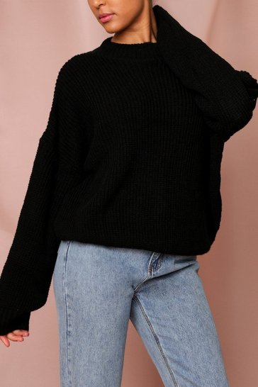 Black Oversized Knitted Sweater