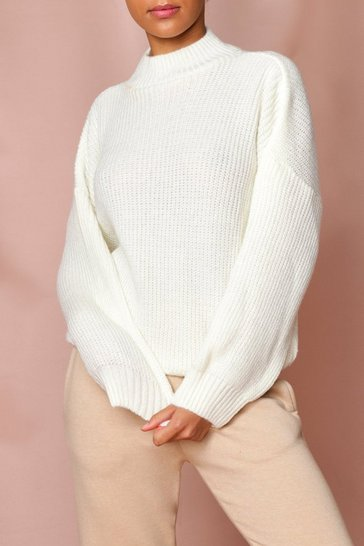 Cream Oversized Knitted Jumper